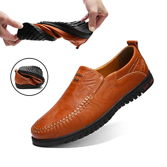Ezkrwxn Mens Brown Slip on Casual Shoes Brown Slip-on Loafers Brown Leather Shoes Casual Fashion Men Casual Leather Driving Shoes Flat Slip on Loafers Dress Brown Size 12 (1858-brown-46)