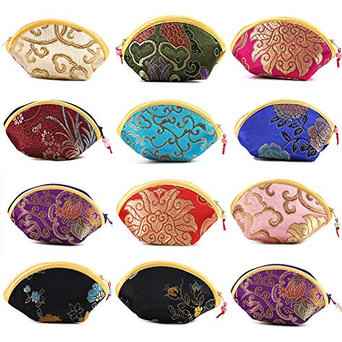Soleebee Mixed Random 12 Pcs Chinese Silk Embroidered Brocade Portable Jewelry Pouch Coin Purses ()