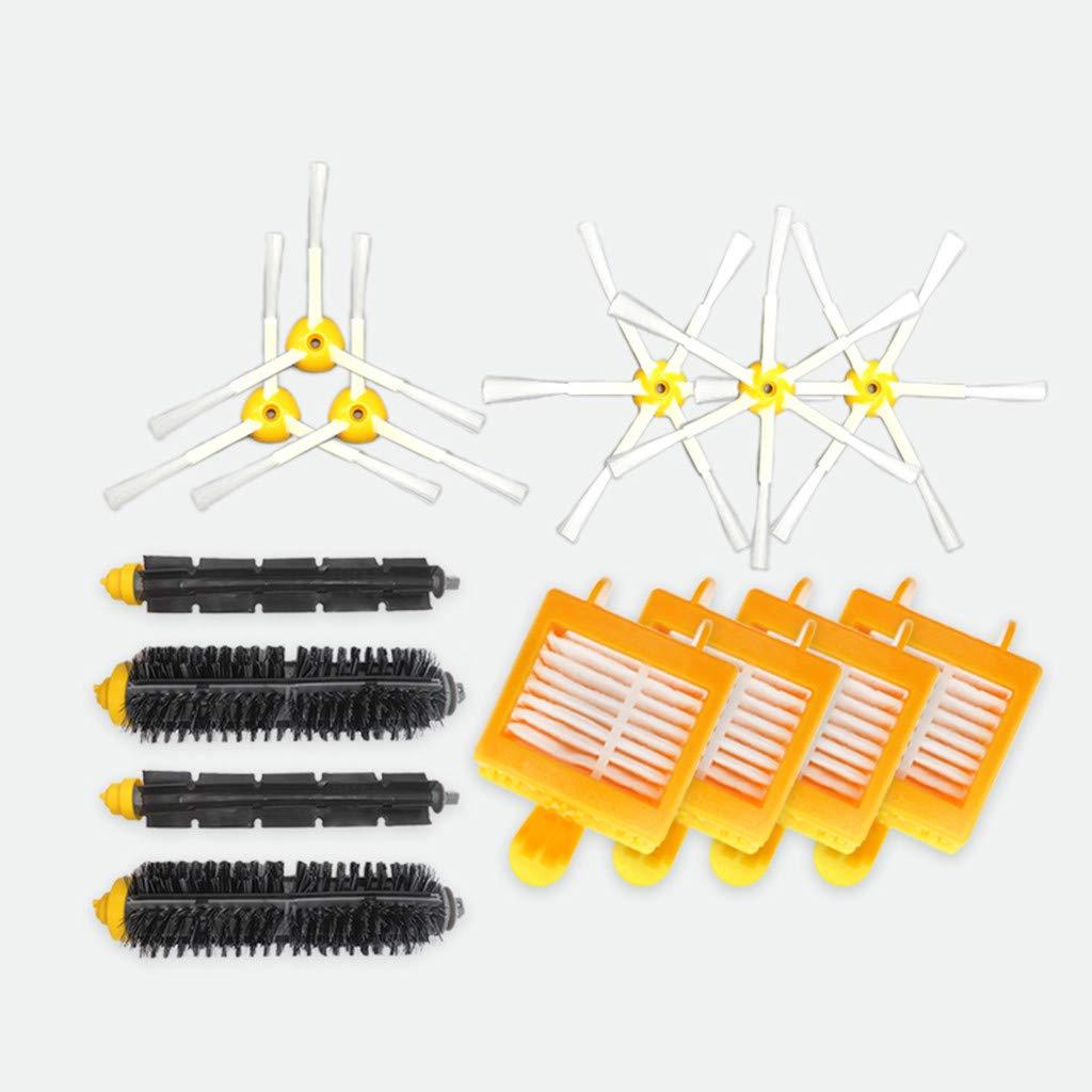 Replacement Part For IRobot Roomba 760 770 780 790 Series Vacuum Cleaning Accessories Kit Robotic Vacuum (Yellow(triangular edge brushes,hexagonal edge brushes,filters,main brushes), 3+3+4+2)
