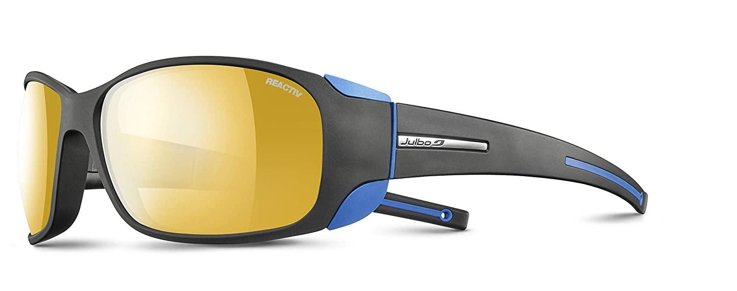 dd99c5d409b Amazon.com  Julbo Montebianco Mountain Sunglasses - Zebra -  Black Black Blue  Sports   Outdoors