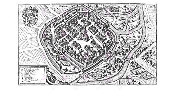 MAP ANTIQUE MERIAN 1650 PILSEN CITY PLAN OLD LARGE REPLICA POSTER PRINT PAM1090