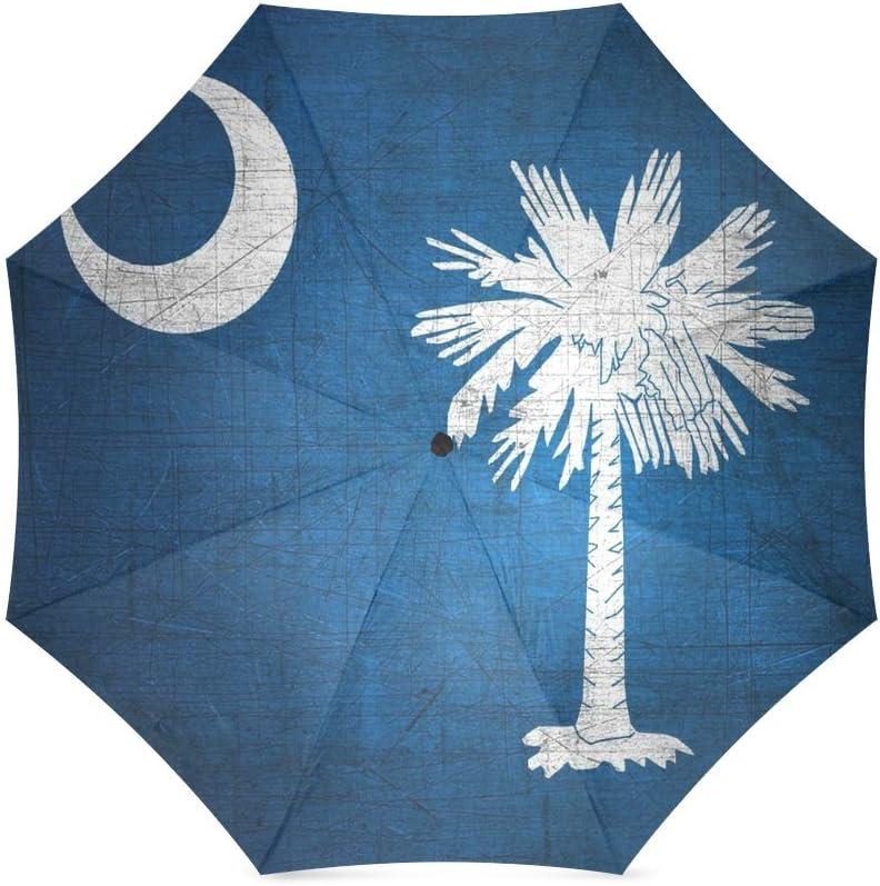 South Carolina State Flag Automatic Tri-fold Umbrella Classic Windproof Anti UV Rain//Sun Travel Umbrella Light Weight.