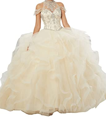 MCandy Women High Neck Off Shoulder Ball Gowns Sweet Girls 15 16 Quinceanera Dresses 0 US