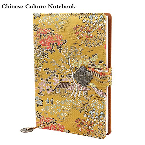 Handmade Personalized Notebook Can be Used for School, Friends, Business Diary,Refillable Notebook Gifts. (YELLOW) ()