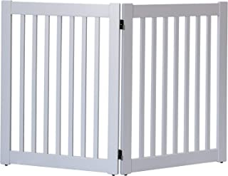 """product image for Dynamic Accents Amish Craftsman Highlander Series Solid Wood Pet Gates are Handcrafted 32"""" High - 2 Panel/Pumice Grey"""