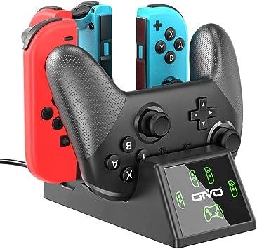 OIVO Base de Carga para Nintendo Switch Joy-con e Mandos, Soporte Carga 5 en 1 Cargador para Nintendo Switch con Indicador LED: Amazon.es: Electrónica
