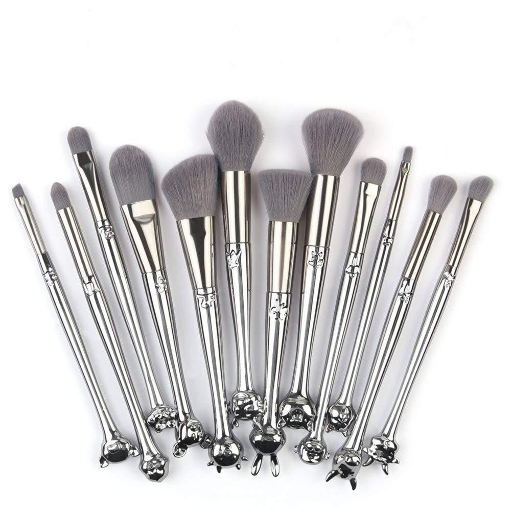 12 Zodiac Makeup Brush Set Plastic Tube Nylon Brush Head Suitable for Foundation, Powder, Blush, and Eyeshadow Belt Cosmetic Bag(12Pcs)