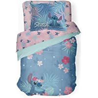 Jay Franco Disney Lilo & Stitch Paradise Dream Twin Comforter & Sham Set - Super Soft Kids Reversible Bedding - Fade Resistant Microfiber (Official Disney Product)