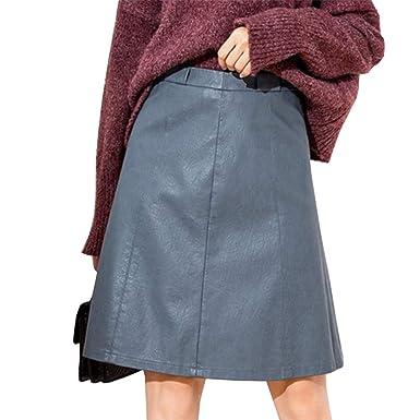 DISSA D6308 Falda de Piel sintética para Mujer, Cintura Alta ...