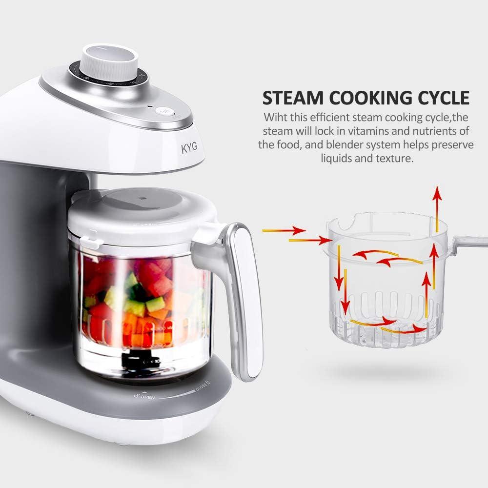 KYG Robot de Cocina al Vapor Procesador de Alimentos para Bebés 5 en 1 Máquina para Hacer Puré Smoothie Sopa y Zumo para Bebés, 430w, Color Blanco y Gris: Amazon.es: Bebé