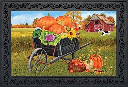 Briarwood Lane Farm Fresh Fall Doormat Wheelbarrow Pumpkins Autumn Indoor Outdoor 18