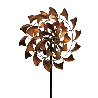 Upper Deck Antique Bronze Finish Metal Art Flower Kinetic Wind Spinner Garden Stake : Garden & Outdoor
