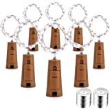Qedertek 8 Pack Wine Bottle Lights with Cork, 20 LED 6.5ft Silver Wire Battery Operated Starry Fairy String Lights for Bottle DIY, Christmas, Wedding, Party and Indoor Decorations (Cool White)