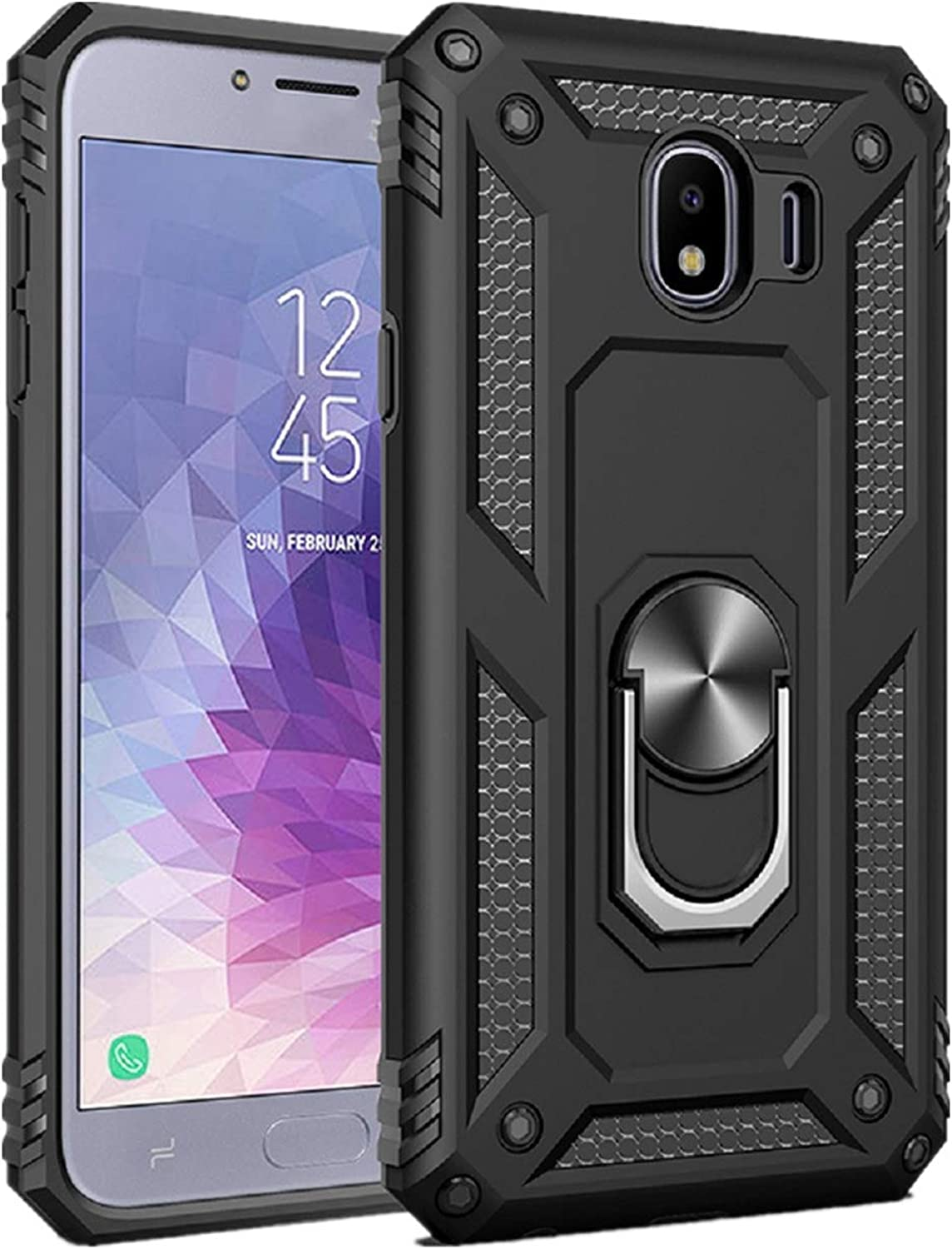 for Samsung Galaxy J4|J4 Plus case Hard Shell Military Grade Cover with Holder 360/° Ring Grip case for Magnetic Car Mount