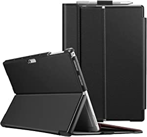Fintie Case for Microsoft Surface Pro 7 Compatible with Surface Pro 6 / Surface Pro 5 12.3 Inch Tablet, Hard Shell Slim Portfolio Cover Work with Type Cover Keyboard, Black