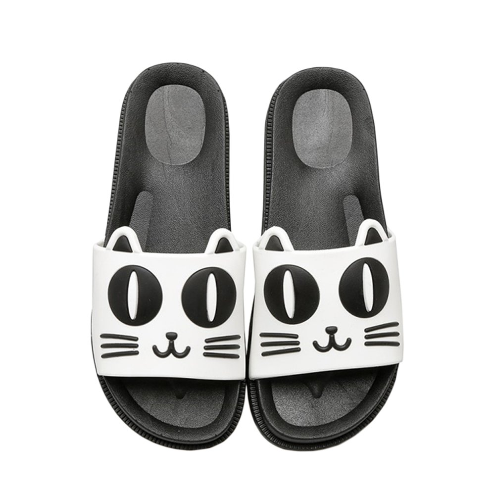 Rains Pan Cat with Ear Rubber Thick Sole Slide Sandal Skid-Proof Slippers Beach Sandal