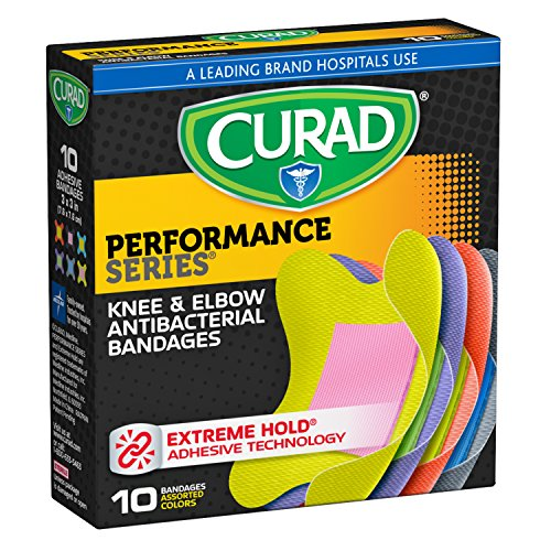 Curad Performance Series Knee and Elbow Extreme Hold Antibacterial Fabric Bandages, 10 ()
