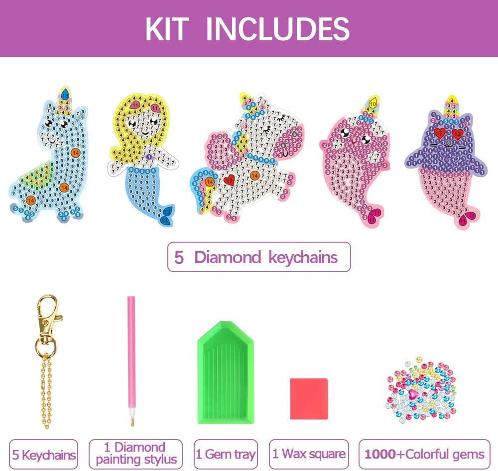 ORIENTAL CHERRY Arts and Crafts for Kids Ages 8-12 Make Your Own GEM Keychains 5D Diamond Dotz Painting by Numbers Art Kits for Girls Kids Toddler Ages 3-5 4-6 6-8