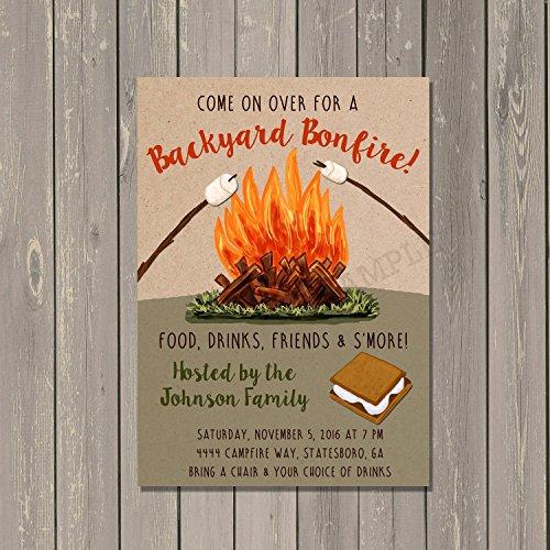 Backyard Bonfire Invitation, Backyard Cookout Smore's Roasting Invitation, Set of 10 with envelopes]()