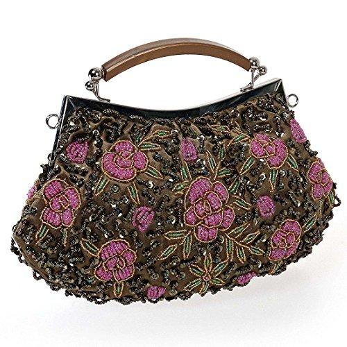 BMC Womens Bold Bronze Tiny Bead Encrusted Pink Flower Design Clutch Evening (Bead Handbag Purse)