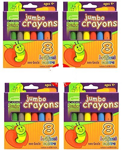 Jumbo Crayons, Brilliant Colors Non-Toxic Crayons for Kids (Set of 32)
