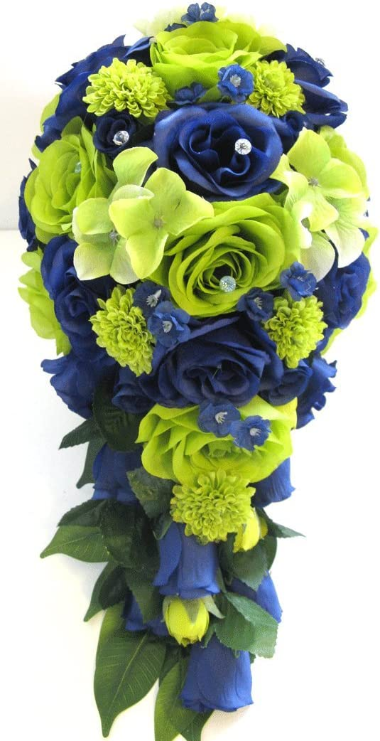 Amazon Com Wedding Bouquet Flowers Bridal Silk 17 Piece Package Lime Green Navy Blue Silver Seahawks Artificial Bouquets Bridesmaid Centerpiece Rosesanddreams Home Kitchen