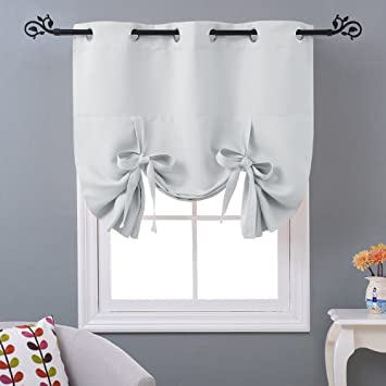 Nicetown Thermal Insulated Blackout Curtain Tie Up Shade For Small Window  Grommet Top Panel