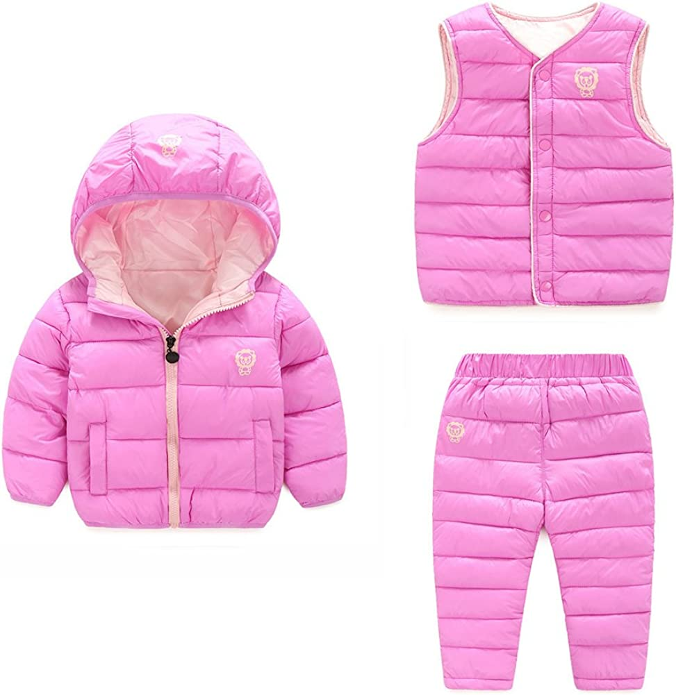 LOSORN ZPY Baby Boy Girl Winter Puffer Snowsuit Down Hooded Jacket+Vest+Ski Pants Set
