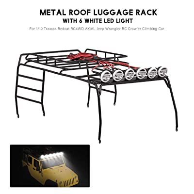 Cigooxm Metal Roof Luggage Rack with 6 White LED Light for 1/10 AXIAL SCX10 D110 D90 Jeep Wrangler RC Crawler Climbing Car: Toys & Games