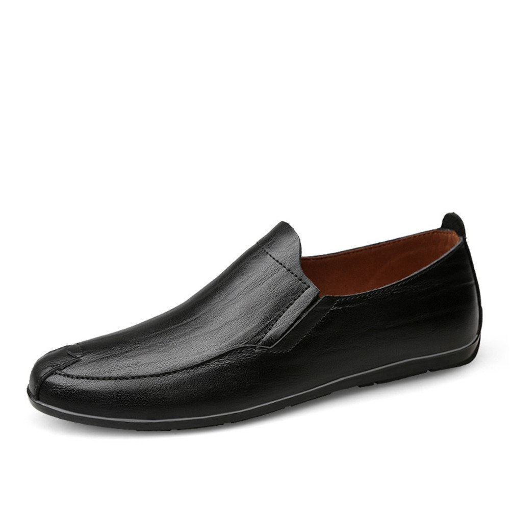 Sunny&Baby Mocasines de tacón Plano de Hombre de Cuero Genuino Vamp Slip en Estilo de conducción Loafer Antideslizante (Color : Negro, tamaño : 40 EU) 40 EU|Negro