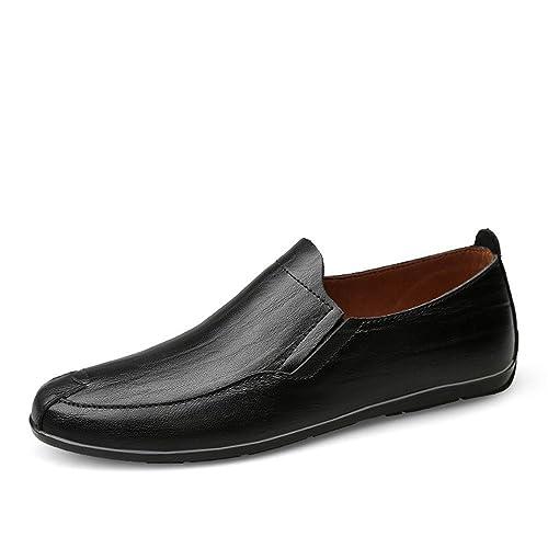 b7eec25a Cuero Mocasines Planos para Hombre Mocasines de Cuero Genuino Deslizamiento  en Estilo de conducción Zapatos Holgados Zapatos: Amazon.es: Zapatos y ...