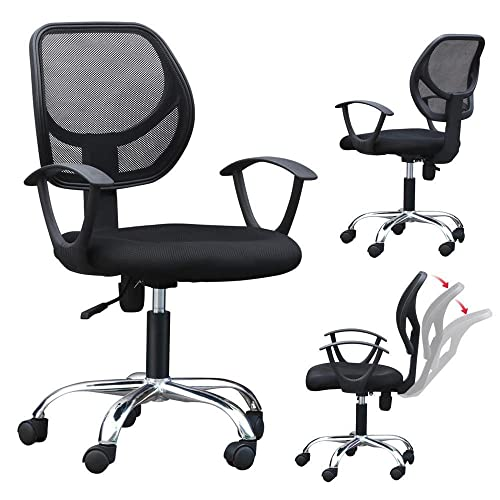 Popamazing White Faux Leather Swivel Computer Desk Chair