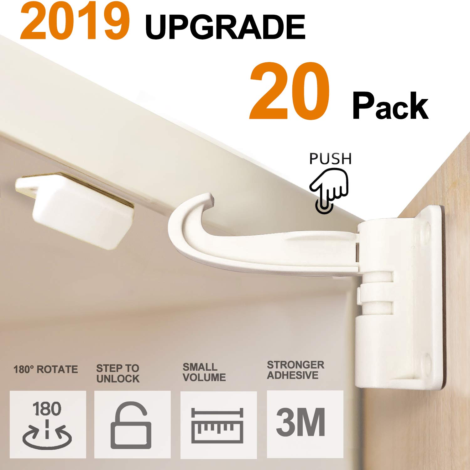 20 Pack Newest Kitchen Cabinet Locks Child Safety Baby Safety Cabinet Locks No Drilling Screws for Latches and Drawers, UPGRADED 3M Adhesives, Invisible Design White by Omami
