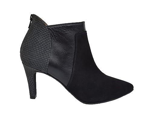 Gennia MALOTO - Botines de Piel Negro con Cremallera para Mujer con Tacon de Aguja 7 cm y Punta Fina Cerrada: Amazon.es: Zapatos y complementos