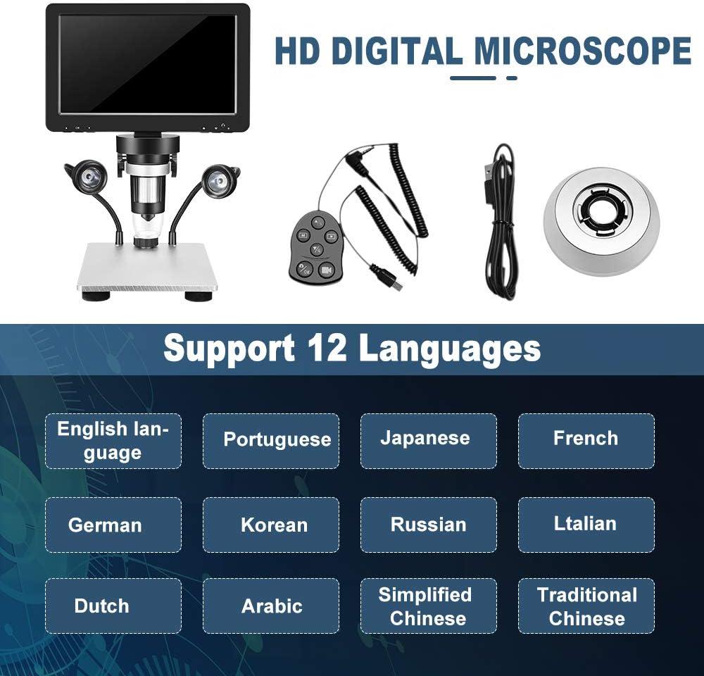 Kacsoo Microscopio Digital Pantalla LCD de 7 Pulgadas y microscopio Digital 1200x para reparaci/ón de Placa de Circuito Microscopio de Soldadura