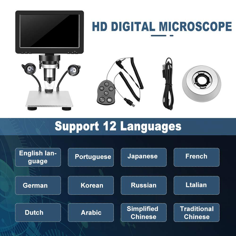 Kacsoo Microscopio digitale Schermo LCD da 7 pollici e microscopio digitale 1200x per microscopio per saldatura di riparazione di circuiti stampati