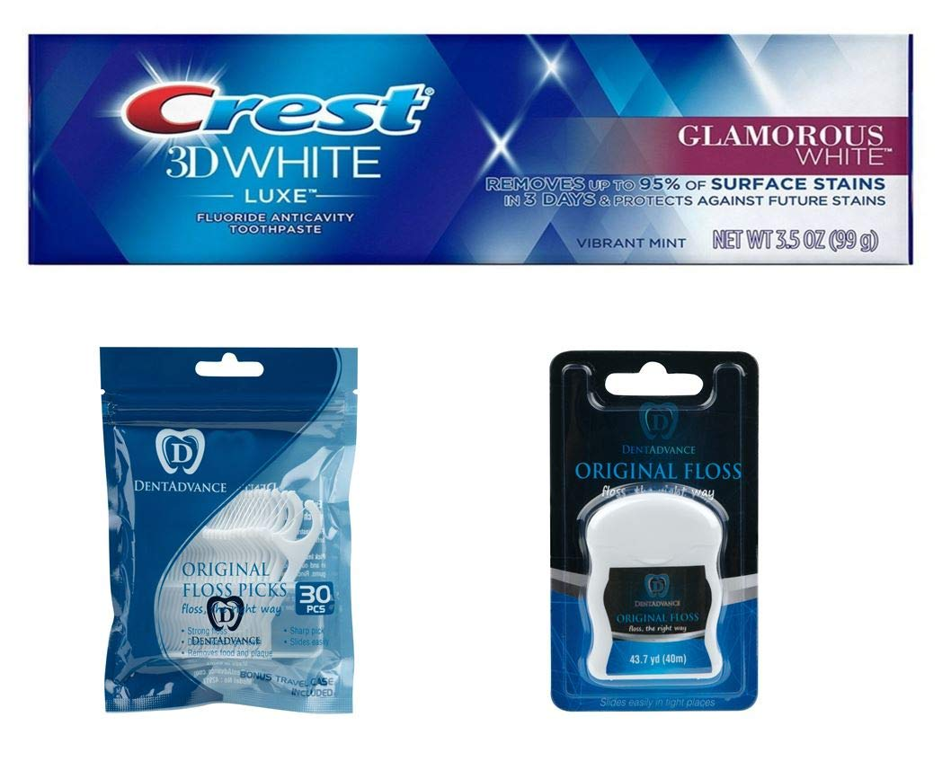 Premium dental Kit, Crest Toothpaste, DentAdvance Premium Unwaxed Dental Floss. & premium angled Dental Floss Picks, Unwaxed, Includes Travel case