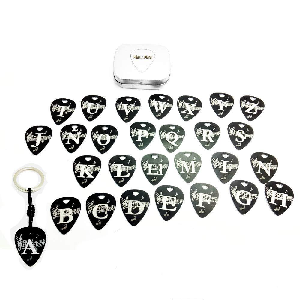 Llavero Púa Guitarra Aluminio Anodizado Negro Diseño con ...