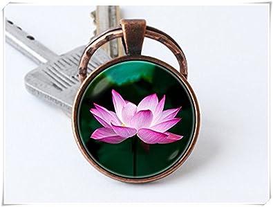 Flor de loto llavero llavero clave cadena rosa Lotus Flores ...