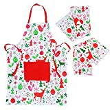 Christmas Cooking Apron with 2 Pack Tea Towels - Kitchen Apron for Men and Women with Pockets, Adjustable Neck Strap - Long Ties, Perfect BBQ Baked Grilling Apron