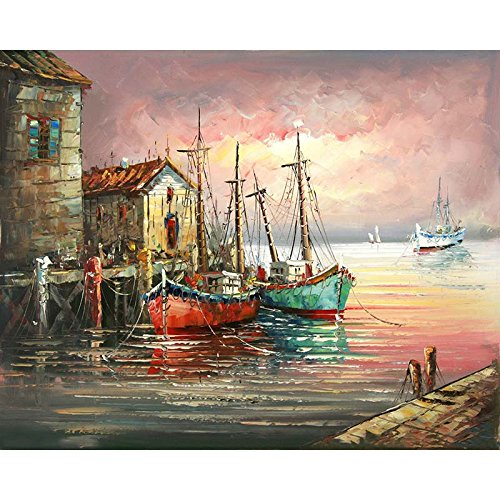 JynXos framed Sunset Sailing Boat DIY Painting By Numbers Wall Art Picture Canvas Painting Abstract Modern Home Decor For Living Room