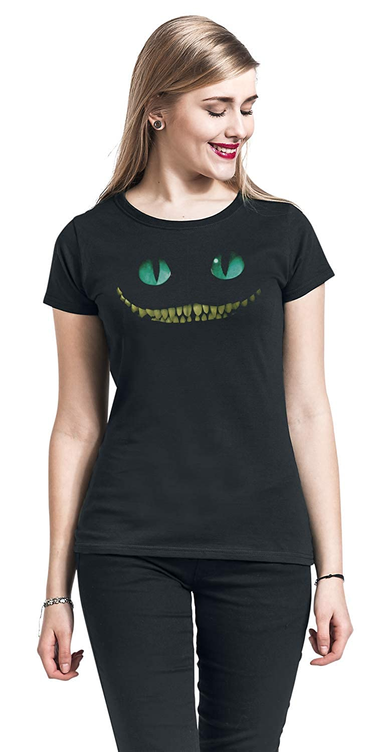 Smile T-Shirt Nero Alice in Wonderland Cheshire Cat