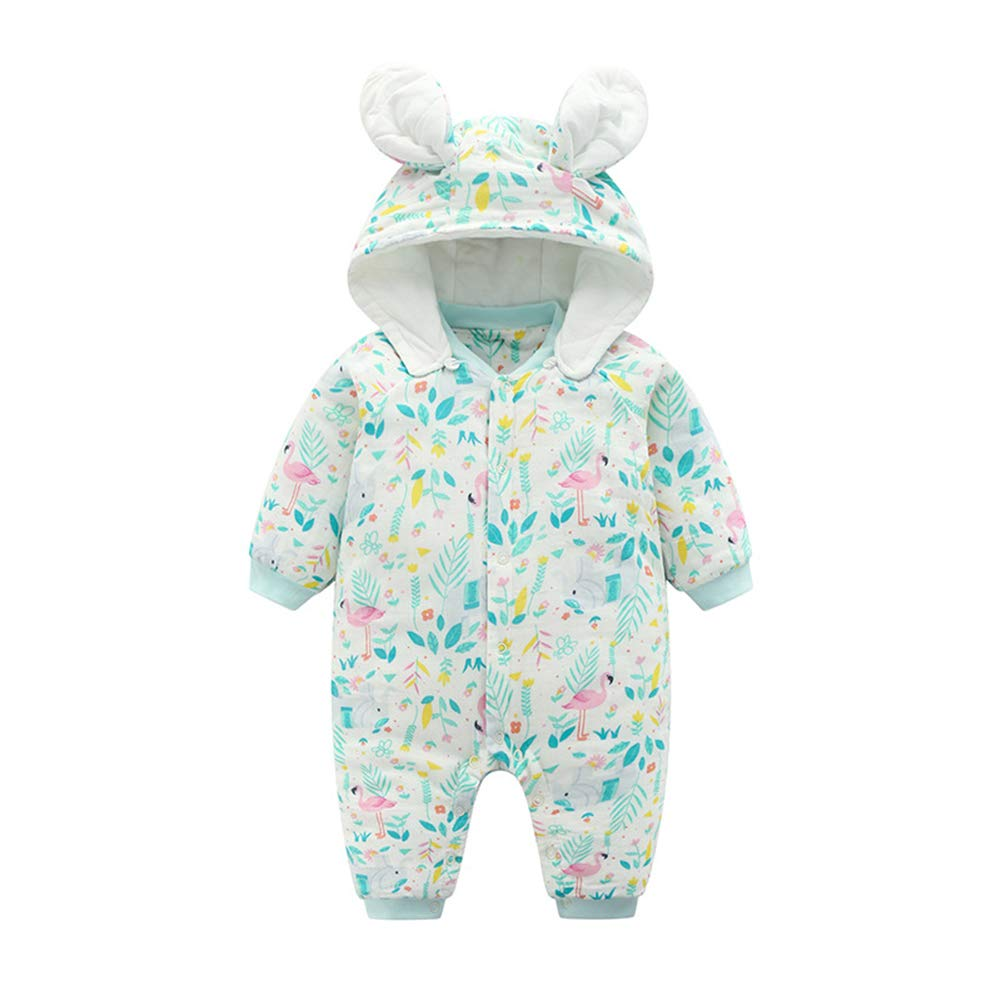 AIKSSOO Infant Toddler Baby Unisex Bunny Ear Hooded Cotton Thick Romper