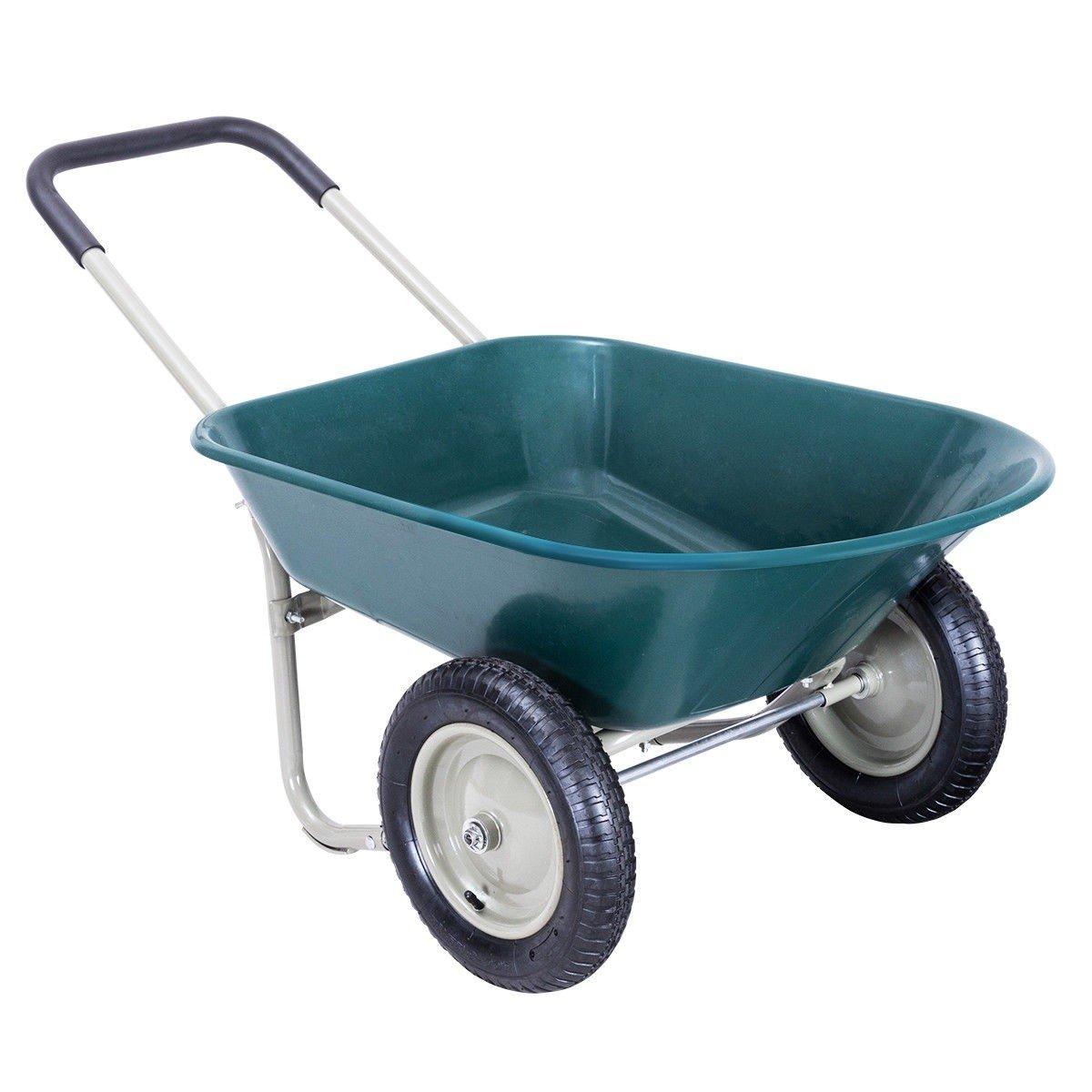 EnjoyShop Heavy Duty 2 Tire Garden Landscape Wagon Wheelbarrow by EnjoyShop