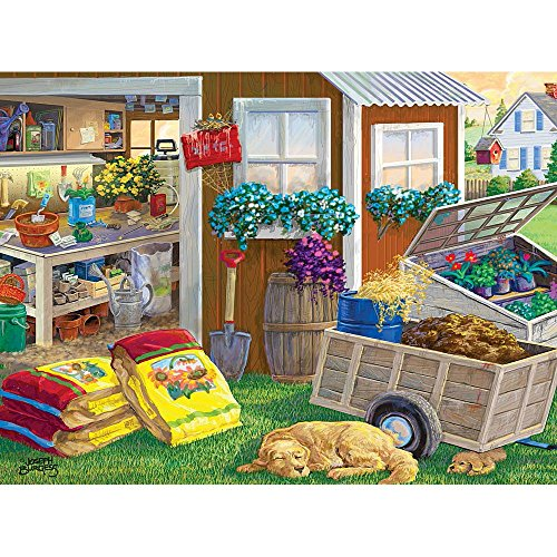Bits and Pieces - 300 Large Piece Jigsaw Puzzle for Adults - Summer Planting Shed, Dog and Puppy - by Artist Joseph Burgess - 300 pc Jigsaw