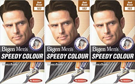 Bigen Speedy - Tinte para cabello para hombre, sin amoníaco, color marrón oscuro, 3 unidades