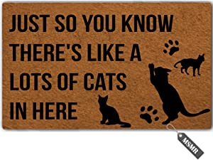 MsMr Door Mat Just So You Know There's Like A Lots of Cats in Here Indoor Outdoor Doormat Custom Doormat Funny Entrance Floor Mat Home Office Welcome Mat 23.6