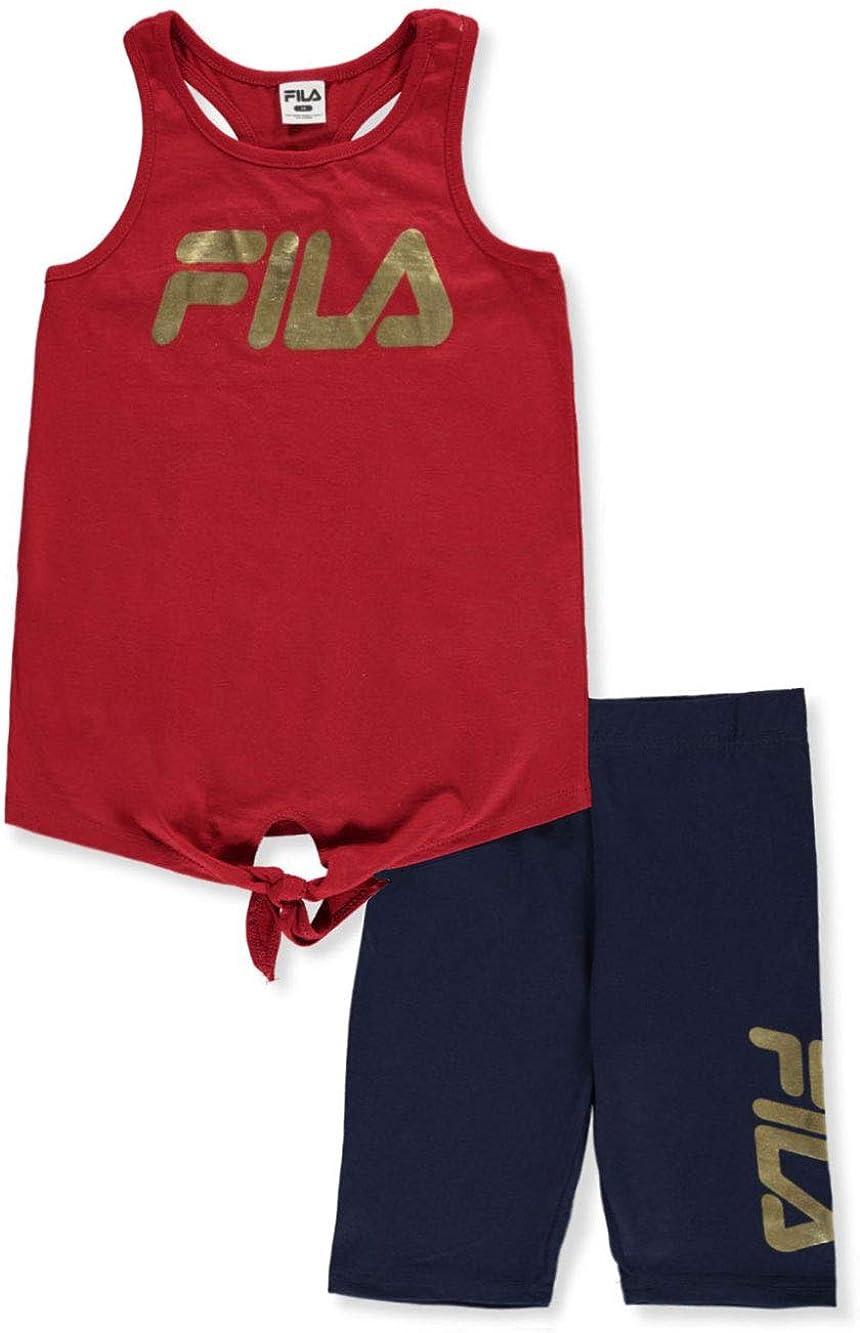 Fila Girls Metallic Logo 2-Piece Bike Shorts Set Outfit