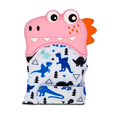 Zoo Beast Baby - Pink Smiling T-Rex Silicon Teething Mitten with Dino Print - BPA Free Infant Teether Glove: Toys & Games
