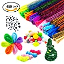 450 Pieces Pipe Cleaners Set, Including 300 Pcs 26 Colors Chenille Stems, 100 Pcs 6 Size Wiggle Googly Eyes and 50 Pcs Pom Poms for Craft DIY Art Supplies